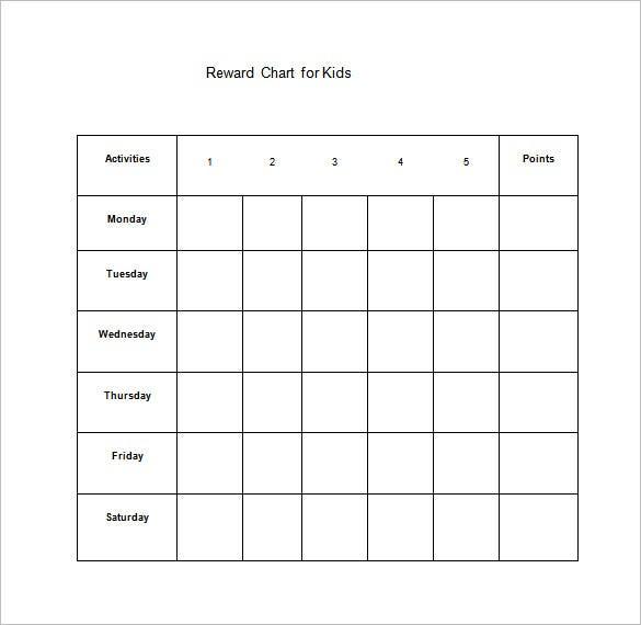 11+ Reward Chart Templates - DOC, PDF, Excel  Free & Premium  Inside Blank Reward Chart Template For Blank Reward Chart Template