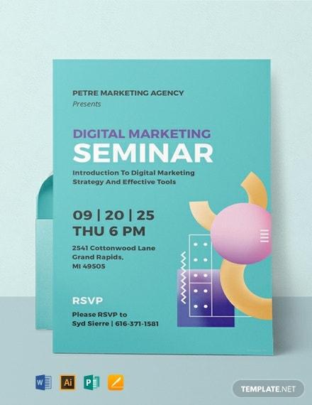 11+ Seminar Invitation Templates - Word, PSD, AI, EPS, Pages  Within Seminar Invitation Card Template With Regard To Seminar Invitation Card Template