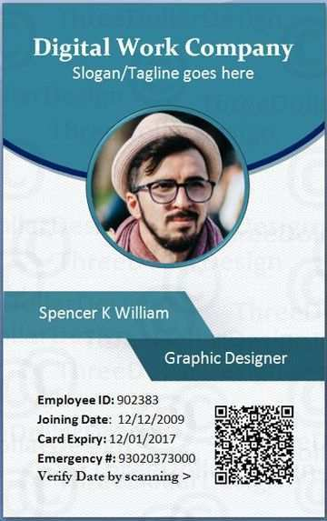 11 The Best Employee Id Card Template In Word Download for  For Employee Card Template Word In Employee Card Template Word