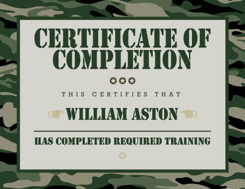 11 Training Certificate Templates [Free Download]  Hloom Intended For Army Certificate Of Completion Template In Army Certificate Of Completion Template