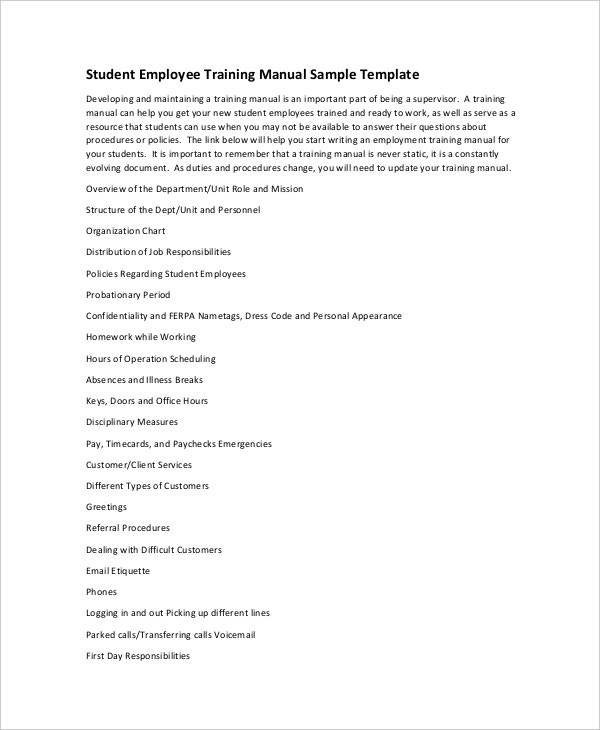 11+ Training Manual Template - Free Sample, Example, Format  Free  With Regard To Training Documentation Template Word Inside Training Documentation Template Word