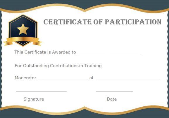 11+ Training Participation Certificate Templates - Free Download  Regarding Participation Certificate Templates Free Download Pertaining To Participation Certificate Templates Free Download