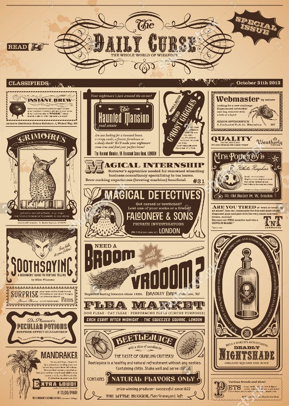11+ Vintage Newspaper Template - Free PSD, EPS Documents Download  With Regard To Old Newspaper Template Word Free
