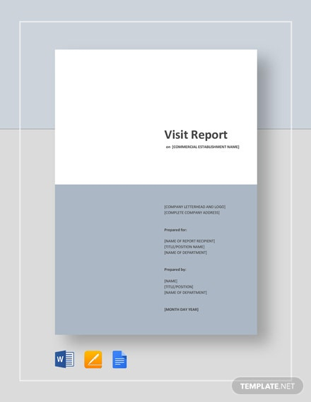 11+ Visit Report Templates - Free Word, PDF, Doc, Apple Pages  With Site Visit Report Template
