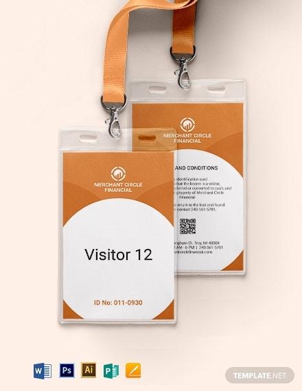 11+ Visitor ID Card Templates - Illustrator, MS Word, Pages  In Visitor Badge Template Word For Visitor Badge Template Word