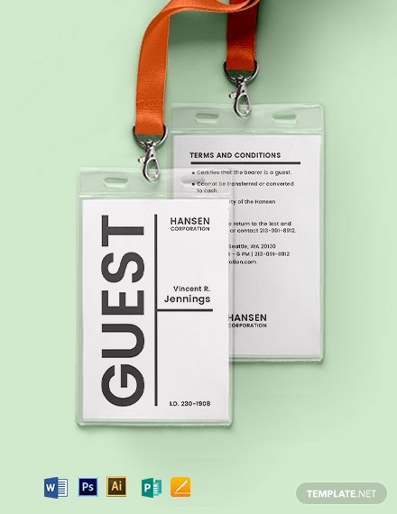 11+ Visitor ID Card Templates - Illustrator, MS Word, Pages  Inside Visitor Badge Template Word Inside Visitor Badge Template Word