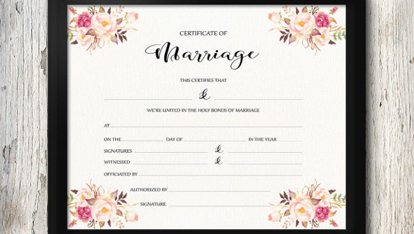 11+ Wedding Certificate Templates – Free Sample, Example, Format  Pertaining To Certificate Of Marriage Template For Certificate Of Marriage Template