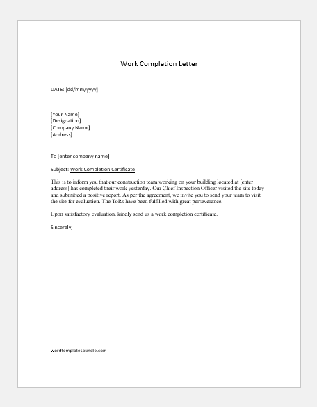 11 Work Completion Letters for Various Contracts  Formal Word  For Certificate Of Completion Template Construction