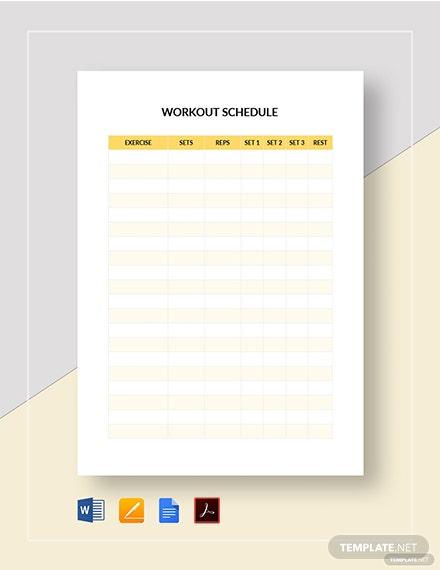 11+ Workout Schedule Templates - PDF, Docs  Free & Premium Templates Intended For Blank Workout Schedule Template Regarding Blank Workout Schedule Template