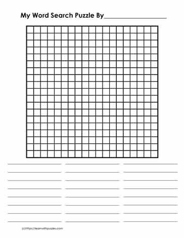 11 x 11 Blank Word Search Learn With Puzzles Throughout Blank Word Search Template Free Regarding Blank Word Search Template Free
