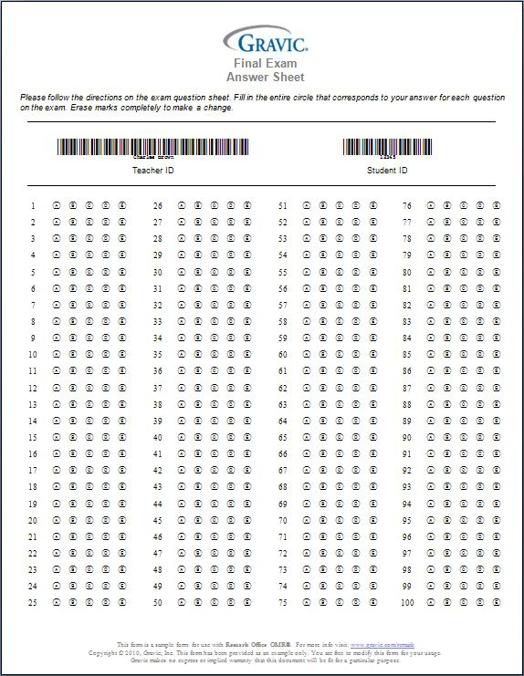 ABC D Answersheet (Page 11) - Line.11QQ Throughout Blank Answer Sheet Template 1 100