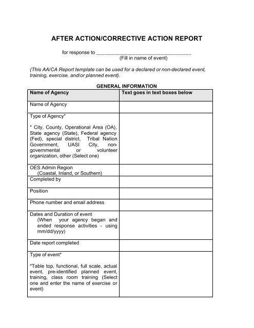 After Action/Corrective Action Report Template In Event Debrief Report Template With Event Debrief Report Template