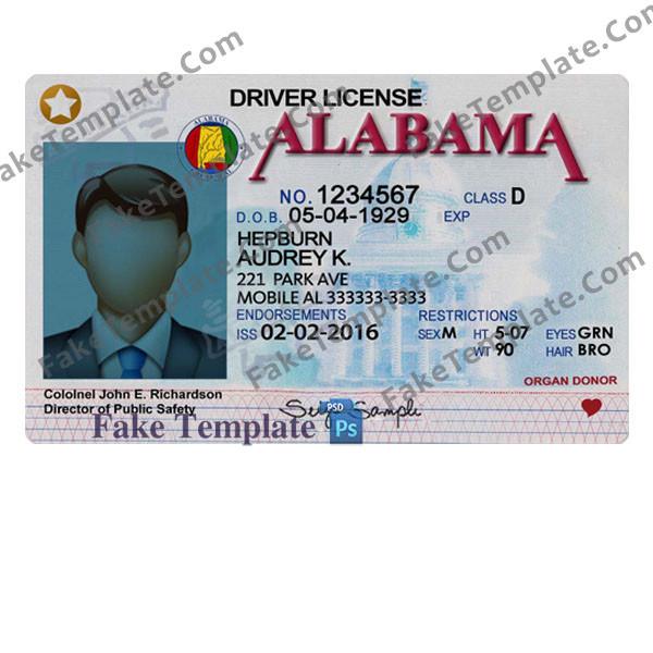 Alabama Driver License Template V11 - Fake Template For Blank Drivers License Template Intended For Blank Drivers License Template