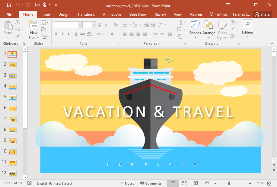 Animated Vacation Travel PowerPoint Template In Fun Powerpoint Templates Free Download