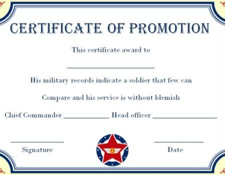 Army Certificate Of Promotion Template - Template Free Regarding Army Certificate Of Completion Template For Army Certificate Of Completion Template