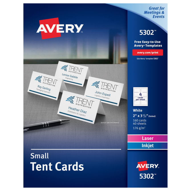 Avery® Small Tent Cards, Uncoated, Two Sided Printing, 1111″ X 1111 11/1111″, 111  Cards (5111101111) Inside Blank Tent Card Template