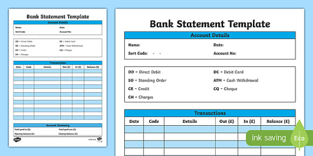 Bank Statement Template (teacher made) With Blank Bank Statement Template Download For Blank Bank Statement Template Download