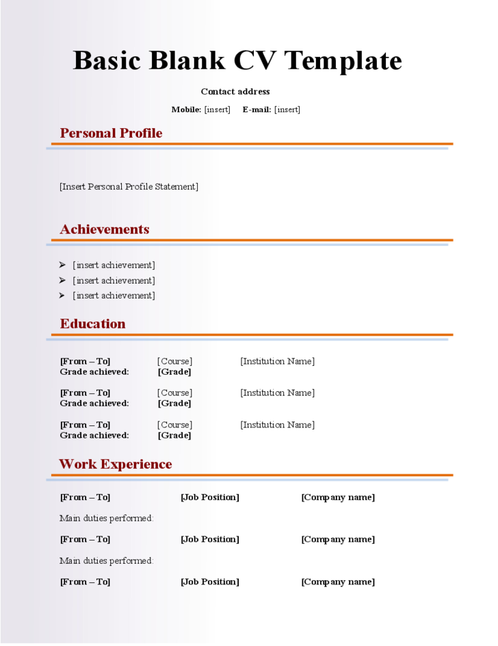 Basic Blank CV Resume Template For Fresher Free Download - Popular  Pertaining To Free Blank Cv Template Download Throughout Free Blank Cv Template Download