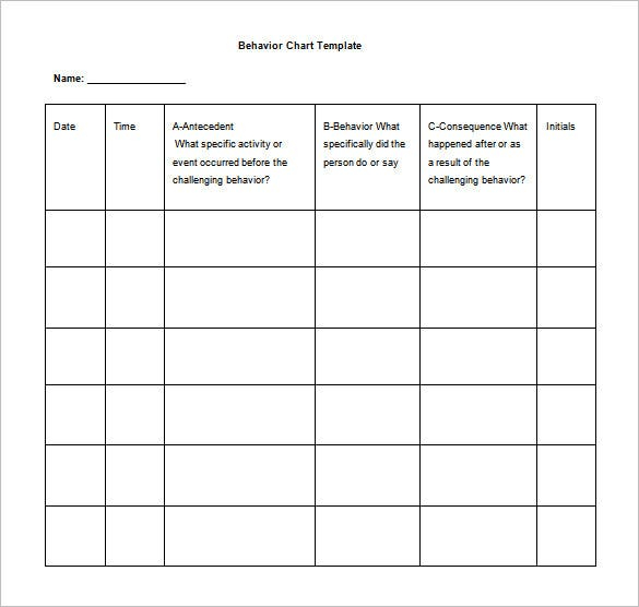 Behavior Chart Template – 11+ Free Sample, Example, Format  Intended For Daily Behavior Report Template Inside Daily Behavior Report Template