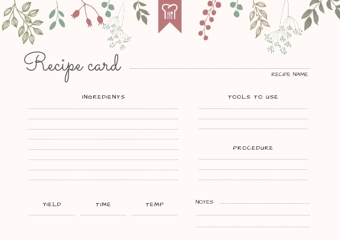 Beige Modern Landscape Recipe Card Template  PosterMyWall Intended For Fillable Recipe Card Template For Fillable Recipe Card Template