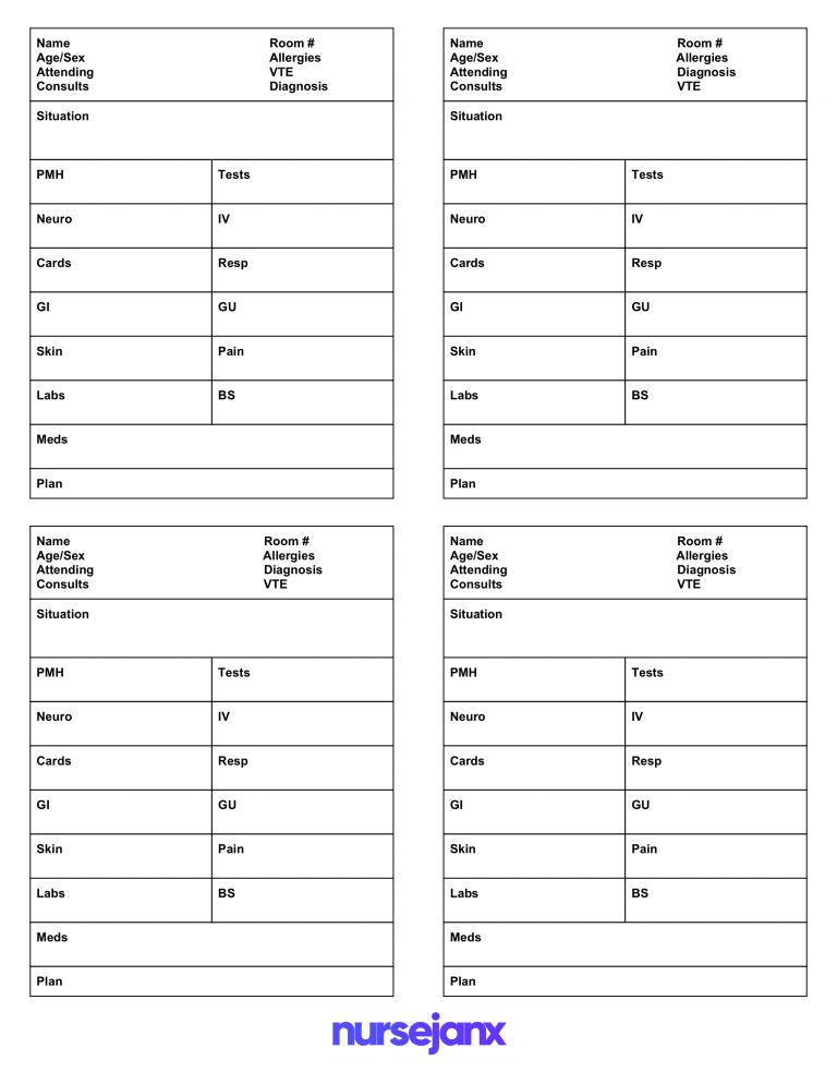 Best FREE SBAR & Brain Nursing Report Sheets/Templates - Nursejanx For Nurse Shift Report Sheet Template With Nurse Shift Report Sheet Template