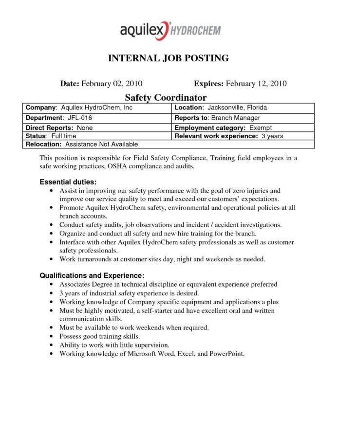 Best Photos Of Internal Job Posting Template Word Resume For  Inside Internal Job Posting Template Word