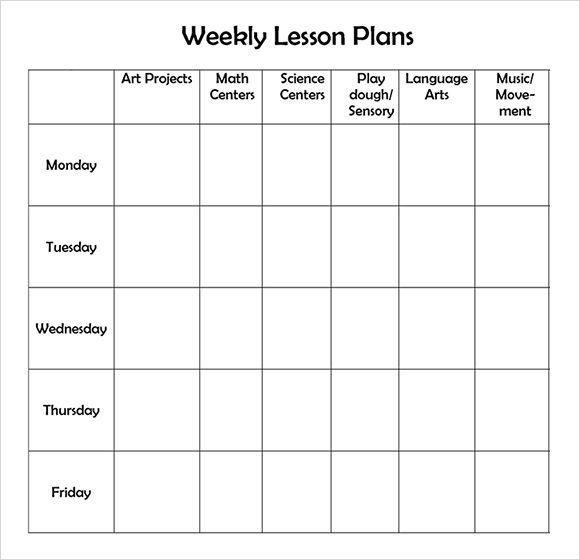 Best Photos of Printable Weekly Preschool Lesson Plans - Preschool  Regarding Blank Preschool Lesson Plan Template Within Blank Preschool Lesson Plan Template