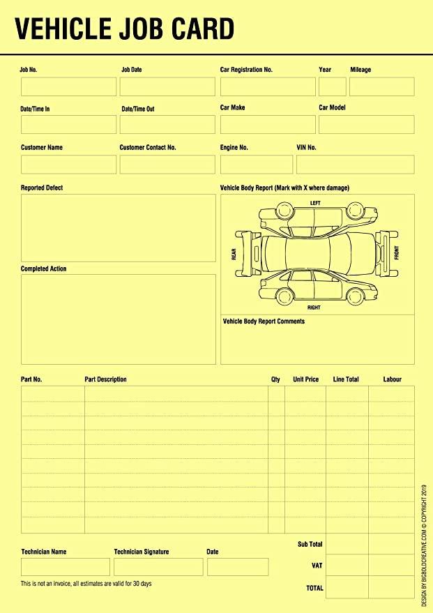 BIGBOLD CREATIVE Vehicle Service Repair Job Work Card Record Sheet  Throughout Mechanic Job Card Template Pertaining To Mechanic Job Card Template