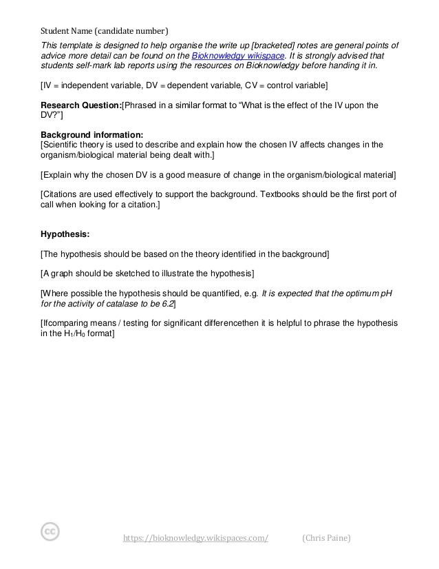Bioknowledgy DP Bio lab report template Pertaining To Biology Lab Report Template Within Biology Lab Report Template