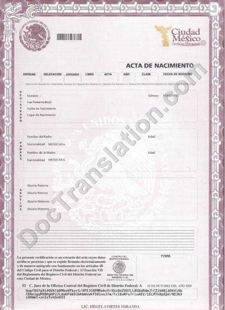 Birth Certificate - Mexico With Regard To Mexican Marriage Certificate Translation Template Regarding Mexican Marriage Certificate Translation Template