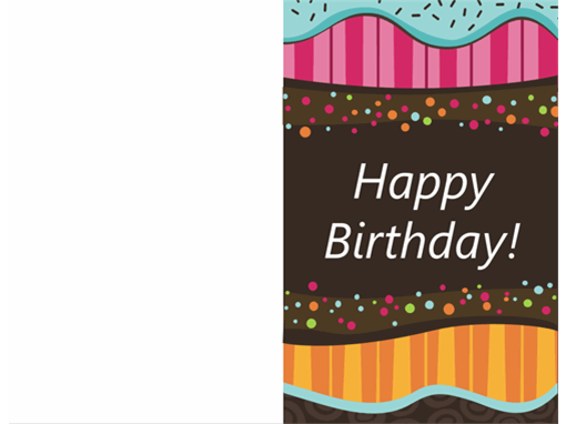Birthday card - dots and stripes (kids, half-fold) Intended For Foldable Birthday Card Template Regarding Foldable Birthday Card Template