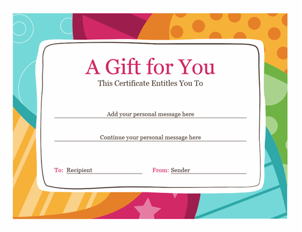 Birthday gift certificate (Bright design) For Microsoft Gift Certificate Template Free Word Within Microsoft Gift Certificate Template Free Word