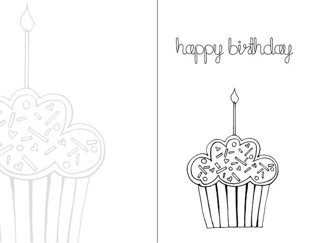 Black And White Birthday Card Printable - Card Design Template Throughout Foldable Birthday Card Template With Foldable Birthday Card Template