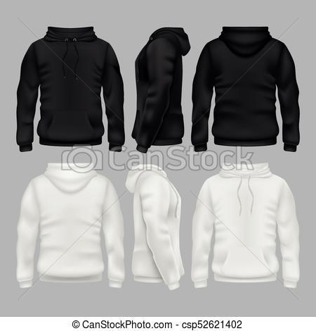 Black and white blank sweatshirt hoodie vector templates Throughout Blank Black Hoodie Template With Blank Black Hoodie Template