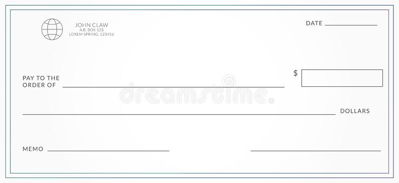 Blank bank cheque. stock vector. Illustration of checkbook - 11 Intended For Large Blank Cheque Template