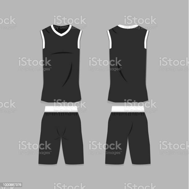 Blank Basketball Jersey Template Stock Illustration - Download Image Now Inside Blank Basketball Uniform Template