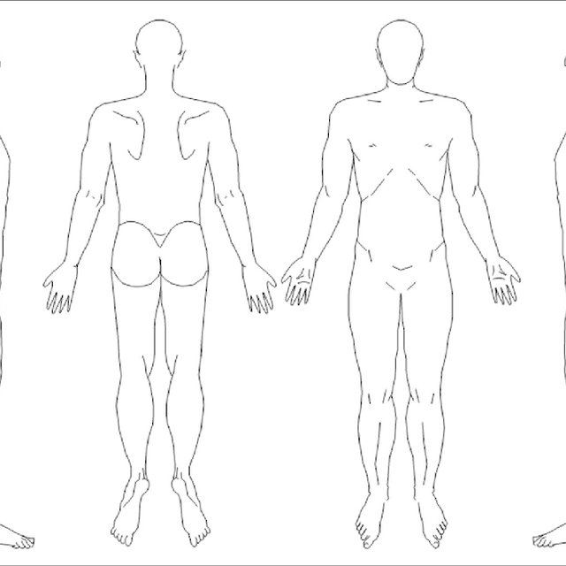 Blank body manikins, from paper questionnaire Throughout Blank Body Map Template