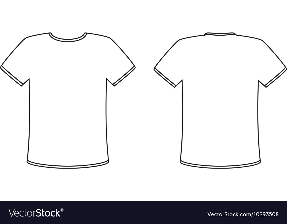 Blank front and back t-shirt design template set Vector Image Intended For Blank T Shirt Outline Template Throughout Blank T Shirt Outline Template