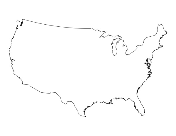 Blank Map of the United States  Printable USA Map PDF Template Pertaining To Blank Template Of The United States Throughout Blank Template Of The United States
