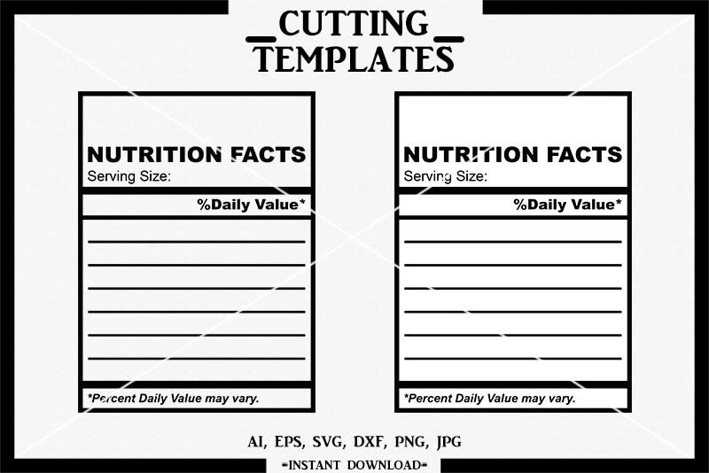 Blank Nutrition Facts, Nutrition Facts Template, Cricut, SVG With Blank Food Label Template Regarding Blank Food Label Template