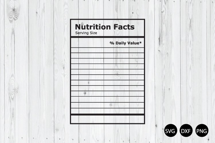 Blank Nutrition Facts SVG, Nutrition Facts Template SVG With Regard To Blank Food Label Template
