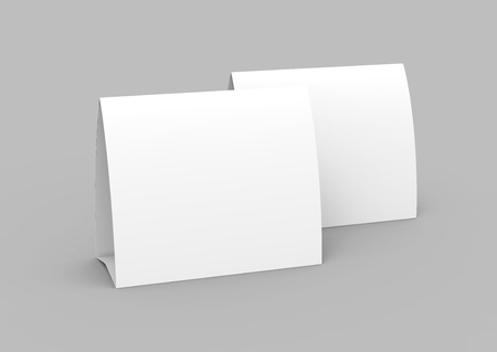 Blank Paper Tent Template, White Tent Cards Set With Empty Space.