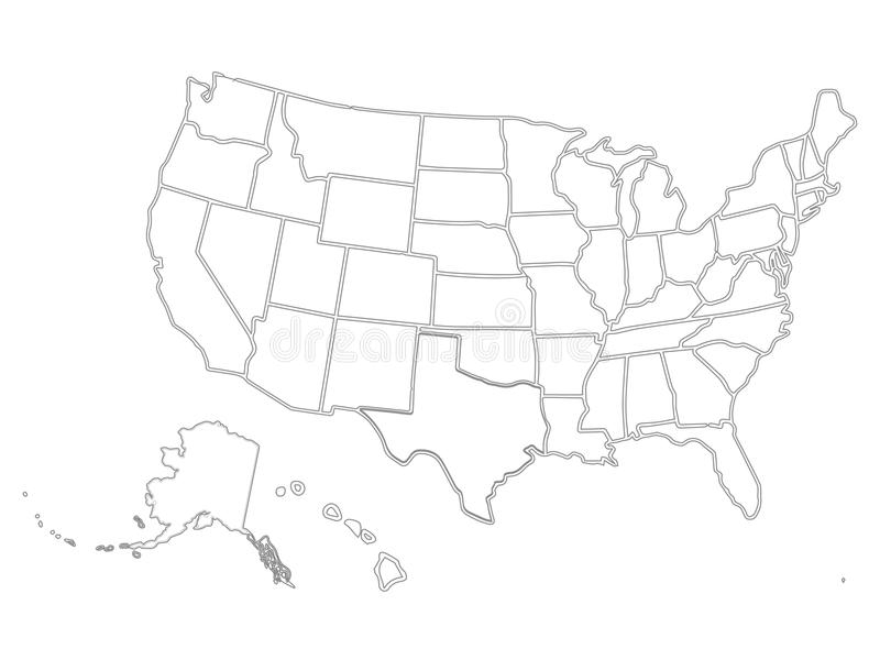 Blank Similar USA Map On White Background Intended For Blank Template Of The United States