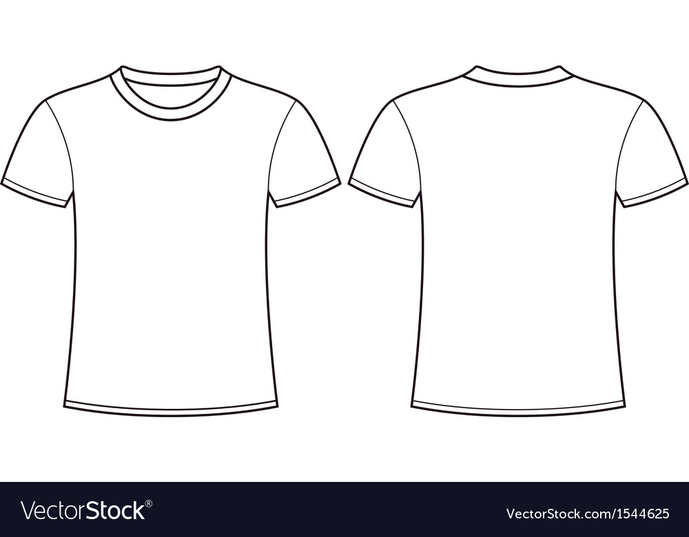 Blank t-shirt template front and back Royalty Free Vector With Regard To Blank Tshirt Template Printable Throughout Blank Tshirt Template Printable