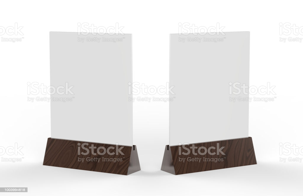 Blank Table Tent Mock Up Template On Isolated White Background Stand For  Acrylic Tent Card Used For Menu Bar And Restaurant 11d Illustration Stock  With Blank Tent Card Template