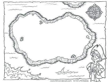 Blank Treasure Map Templates Children Pirate Coloring Page  With Blank Pirate Map Template