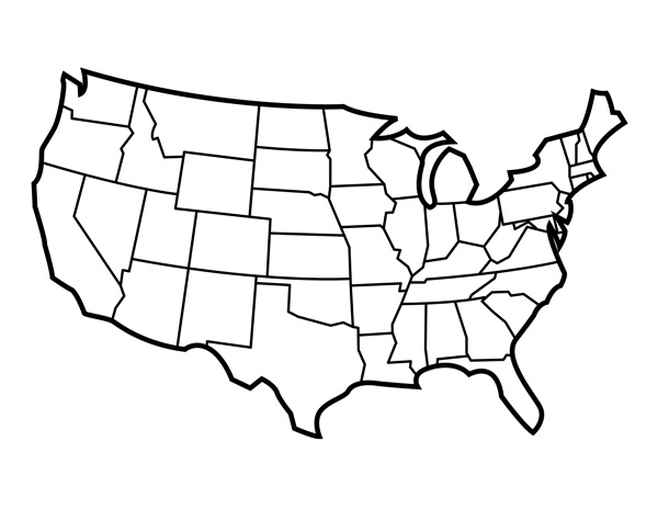 Blank United States Map with States for Students and Teachers  PDF In United States Map Template Blank Inside United States Map Template Blank