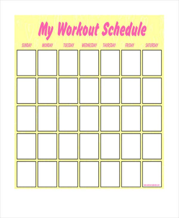 Blank Workout Schedule Template - 11+ Free Word, PDF Format  Regarding Blank Workout Schedule Template Regarding Blank Workout Schedule Template