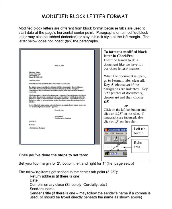 Block Letter Format Template - 11+ Free WOrd, PDF Documents  For Modified Block Letter Template Word In Modified Block Letter Template Word