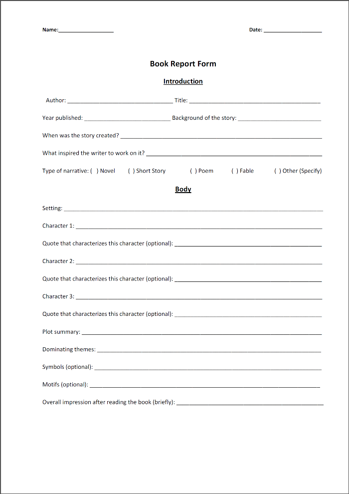 Book Report Examples College – What Your Introduction Is to Include With Regard To High School Book Report Template For High School Book Report Template
